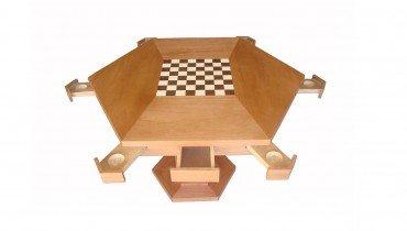 Mesa Hexagonal de Xadrez c/ Tampo para Cartas